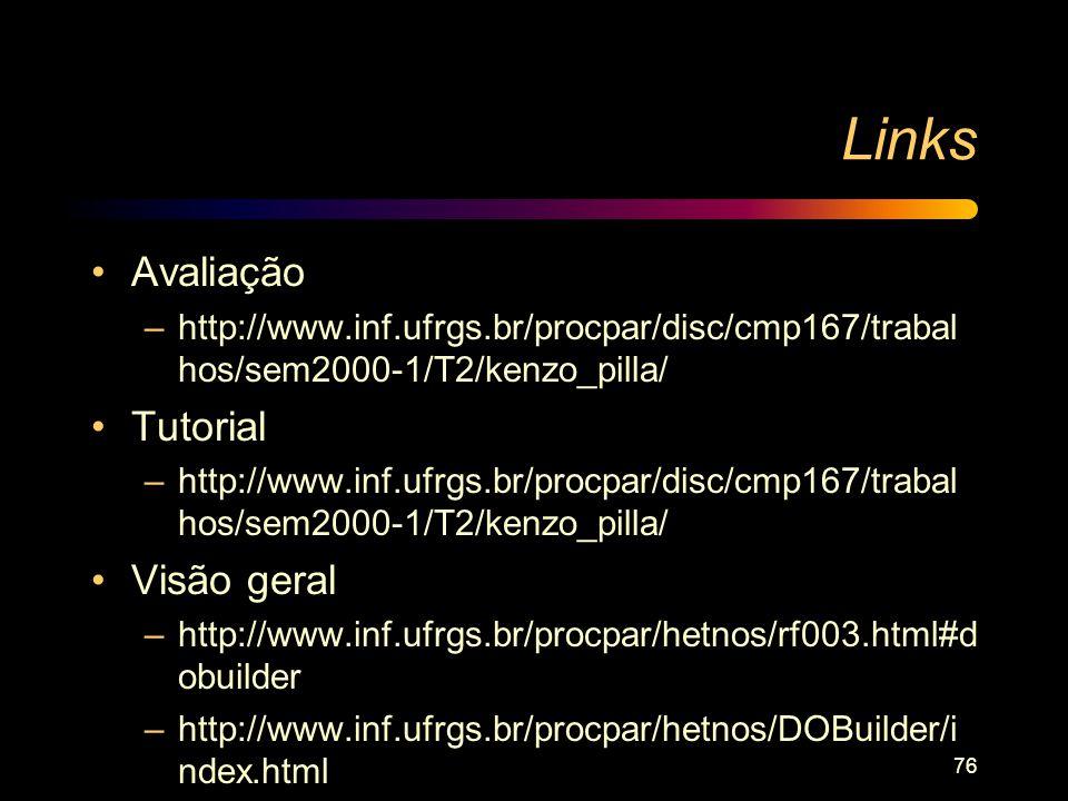 Links Avaliação Tutorial Visão geral