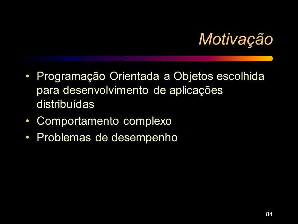 Motivação Programação Orientada a Objetos escolhida para desenvolvimento de aplicações distribuídas.
