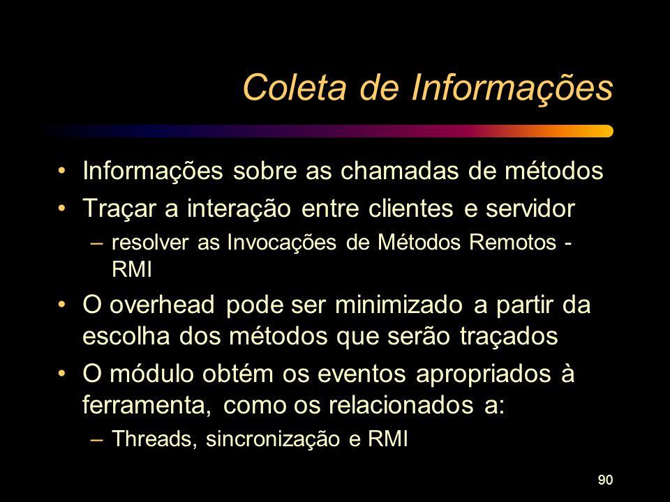 Coleta de Informações Informações sobre as chamadas de métodos