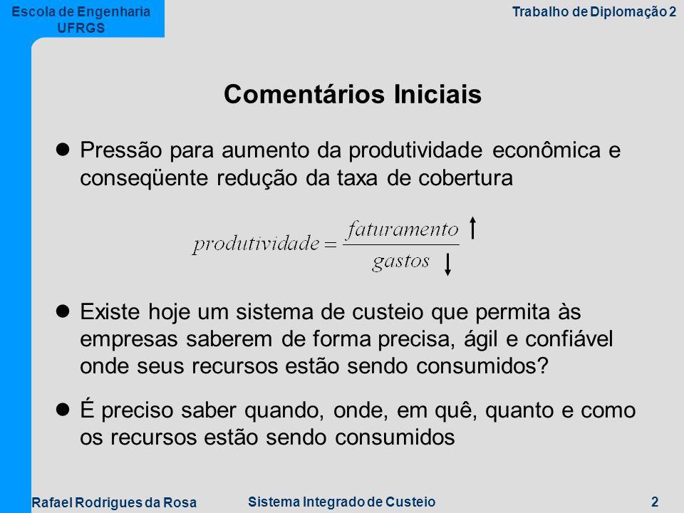 Comentários Iniciais Pressão para aumento da produtividade econômica e conseqüente redução da taxa de cobertura.