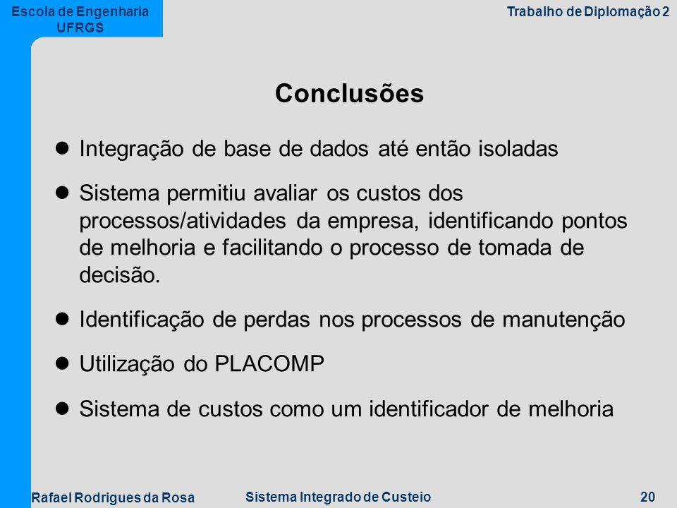 Conclusões Integração de base de dados até então isoladas