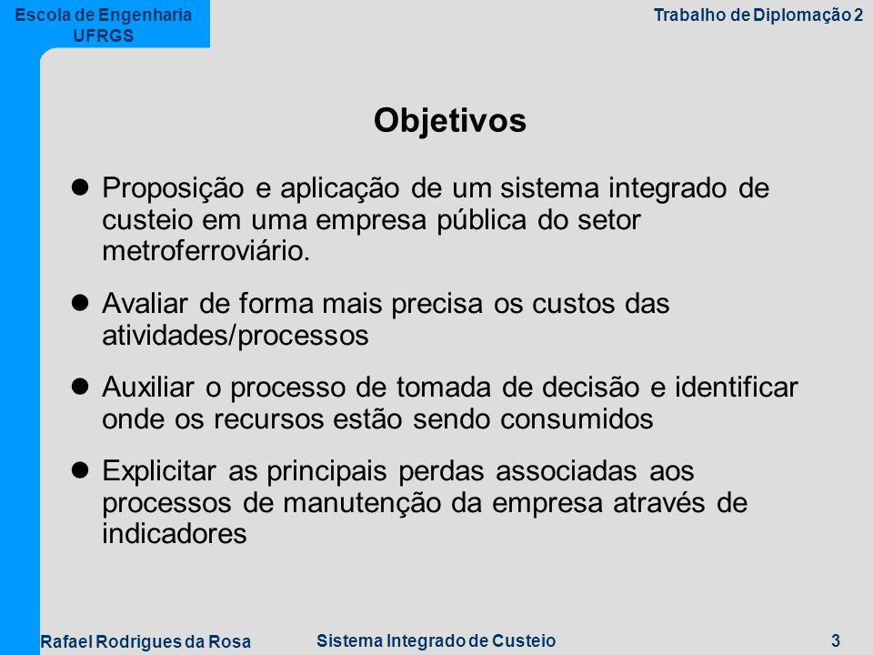 Objetivos Proposição e aplicação de um sistema integrado de custeio em uma empresa pública do setor metroferroviário.