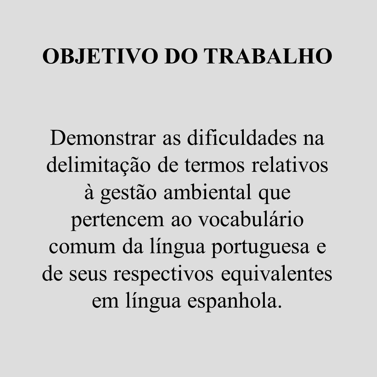 OBJETIVO DO TRABALHO