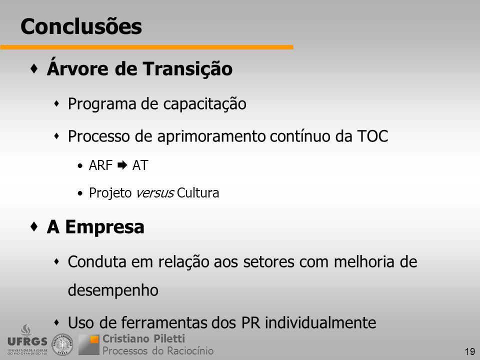 Conclusões Árvore de Transição A Empresa Programa de capacitação