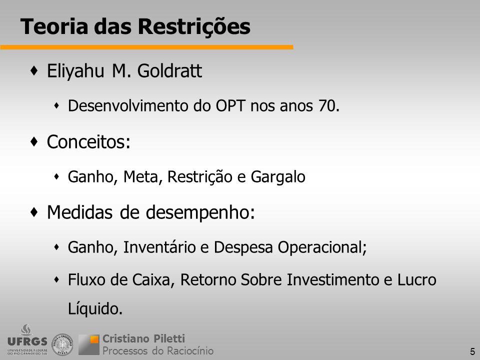 Teoria das Restrições Eliyahu M. Goldratt Conceitos: