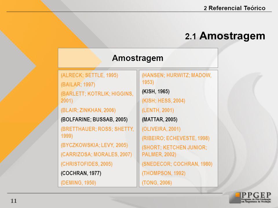 2.1 Amostragem Amostragem (ALRECK; SETTLE, 1995) (BAILAR; 1997)