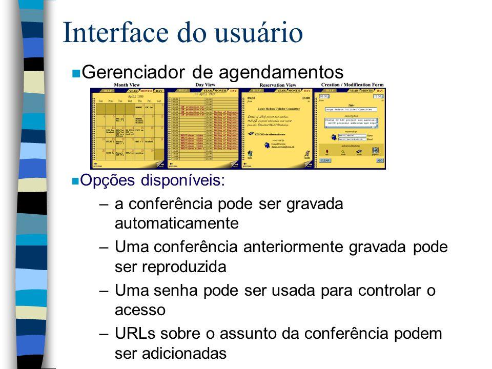 Interface do usuário Gerenciador de agendamentos Opções disponíveis: