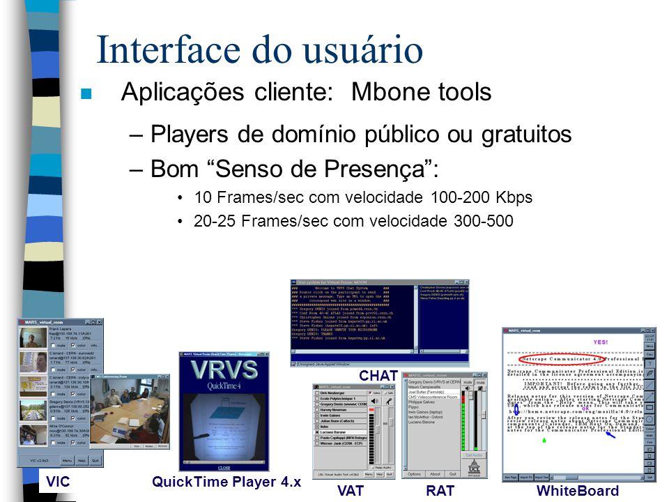 Interface do usuário Aplicações cliente: Mbone tools