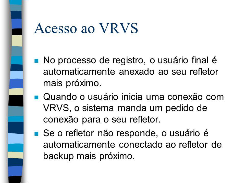 Acesso ao VRVS No processo de registro, o usuário final é automaticamente anexado ao seu refletor mais próximo.
