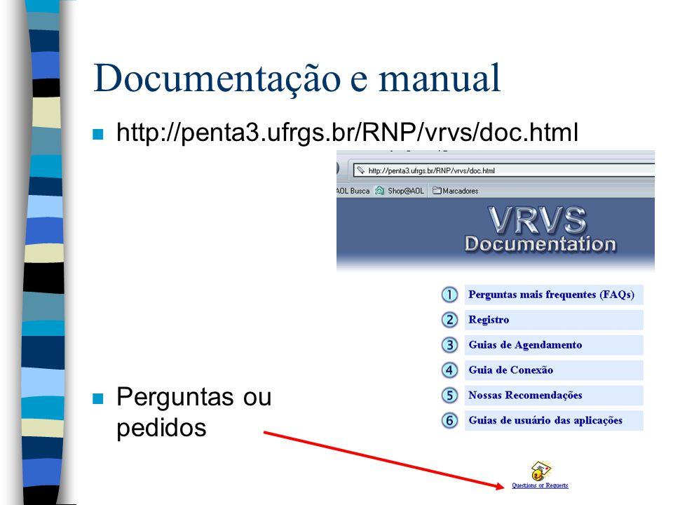 Documentação e manual http://penta3.ufrgs.br/RNP/vrvs/doc.html
