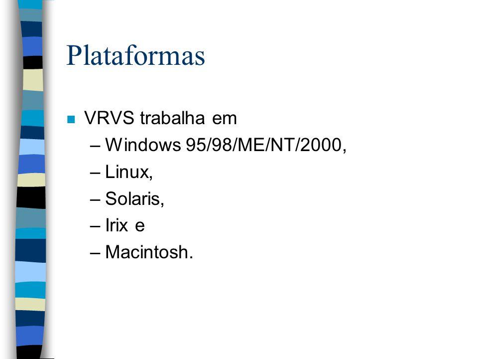 Plataformas VRVS trabalha em Windows 95/98/ME/NT/2000, Linux, Solaris,