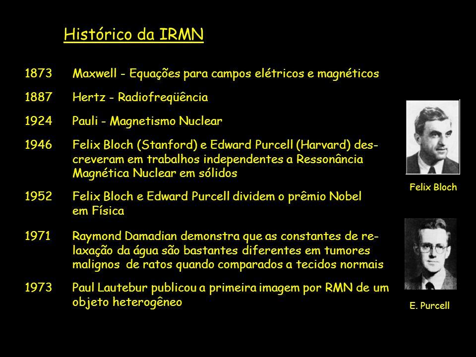 Histórico da IRMN 1873 Maxwell - Equações para campos elétricos e magnéticos. 1887 Hertz - Radiofreqüência.