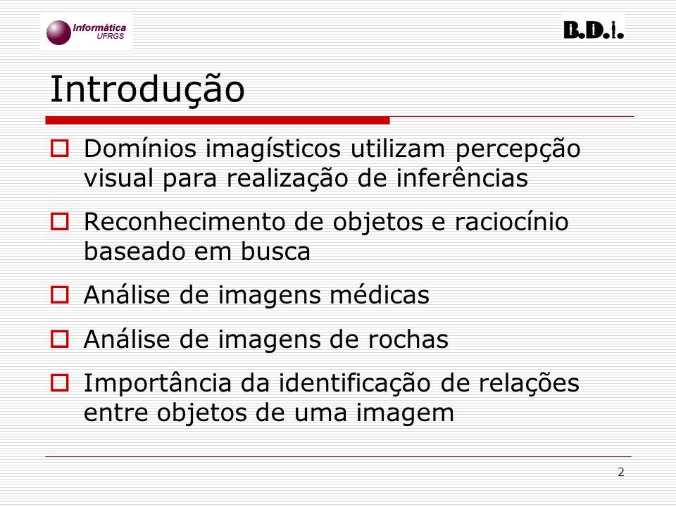 Introdução Domínios imagísticos utilizam percepção visual para realização de inferências. Reconhecimento de objetos e raciocínio baseado em busca.