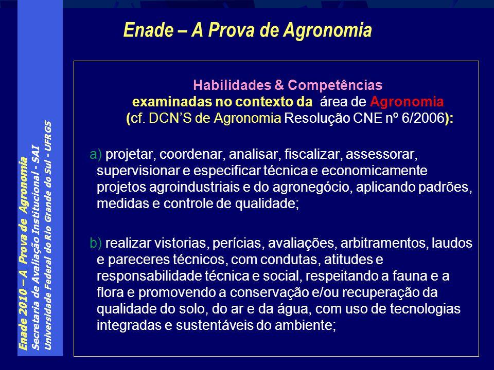 Enade – A Prova de Agronomia Habilidades & Competências