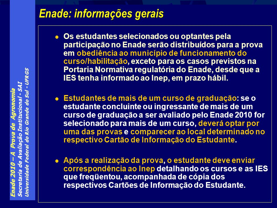 Enade: informações gerais