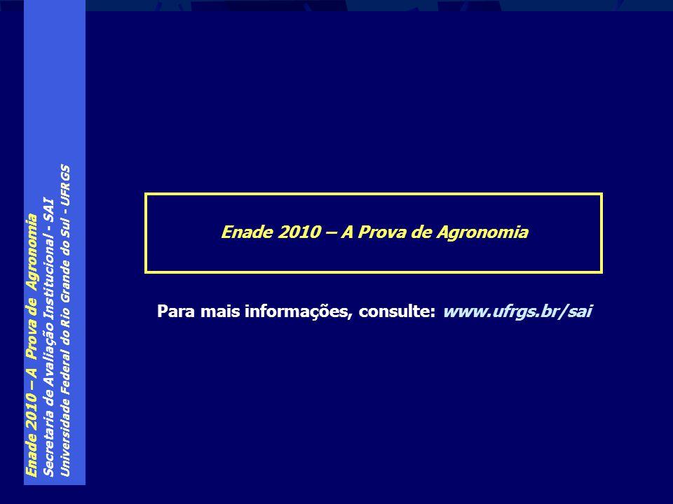Enade 2010 – A Prova de Agronomia