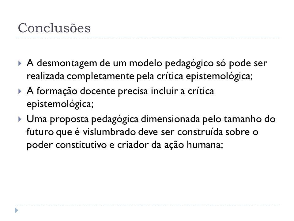 Conclusões A desmontagem de um modelo pedagógico só pode ser realizada completamente pela crítica epistemológica;