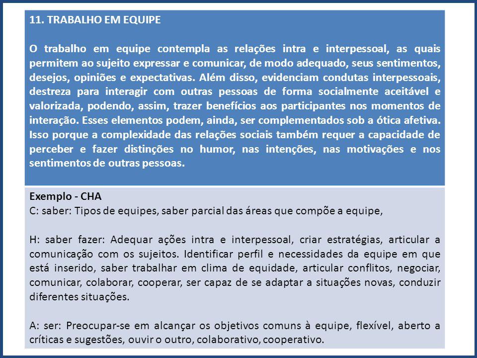 11. TRABALHO EM EQUIPE