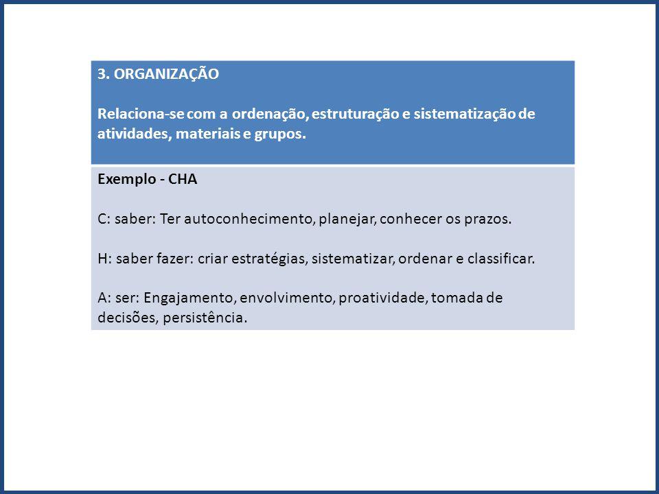 3. ORGANIZAÇÃO Relaciona-se com a ordenação, estruturação e sistematização de atividades, materiais e grupos.