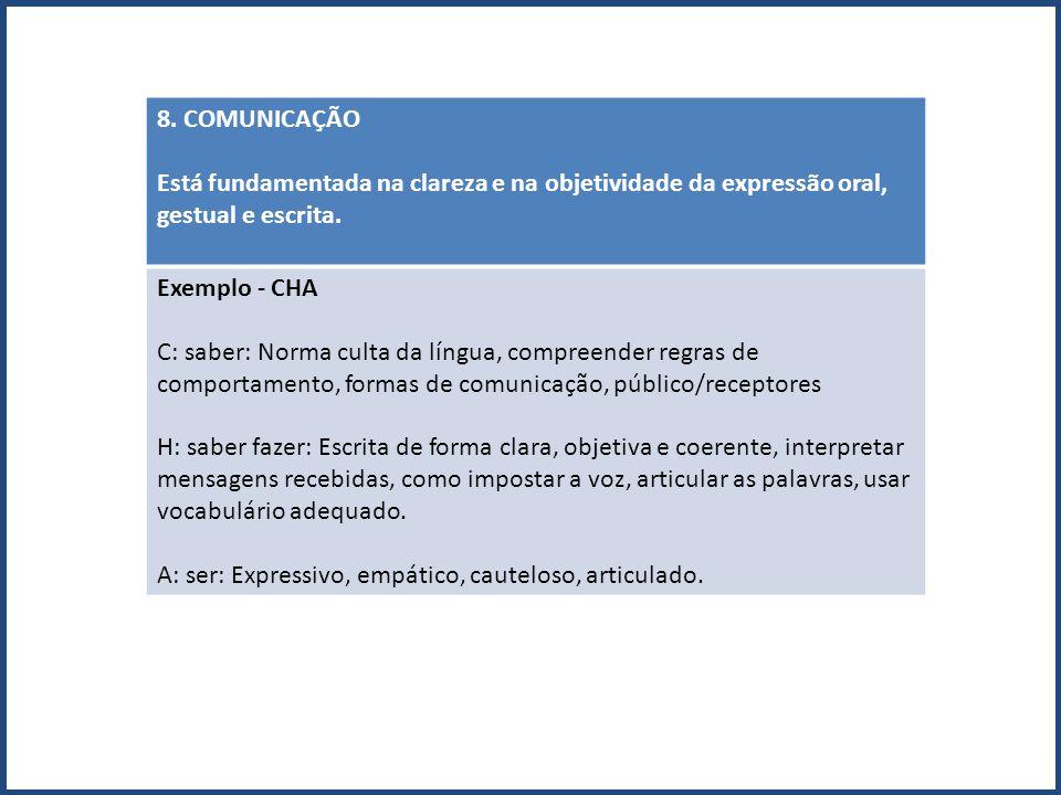 8. COMUNICAÇÃO Está fundamentada na clareza e na objetividade da expressão oral, gestual e escrita.
