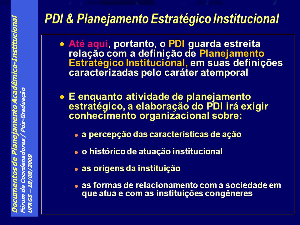 PDI & Planejamento Estratégico Institucional