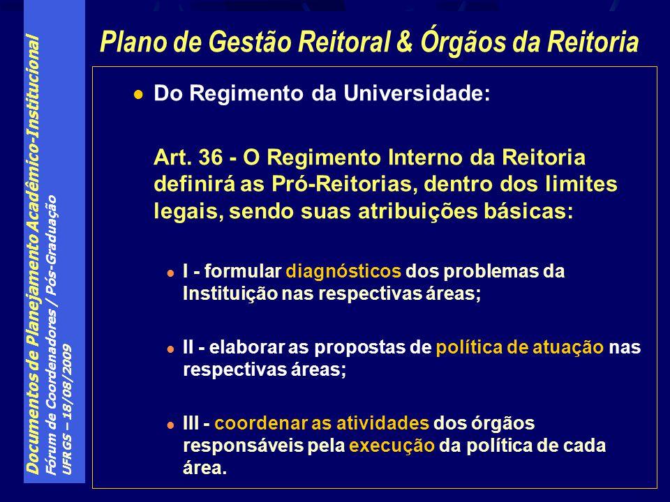 Plano de Gestão Reitoral & Órgãos da Reitoria