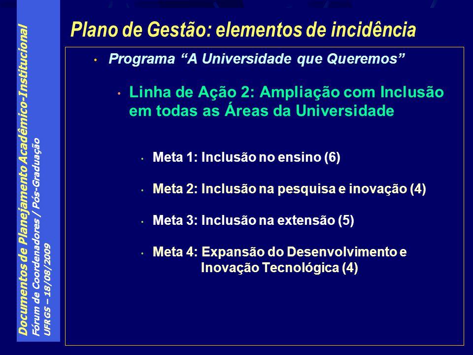 Plano de Gestão: elementos de incidência