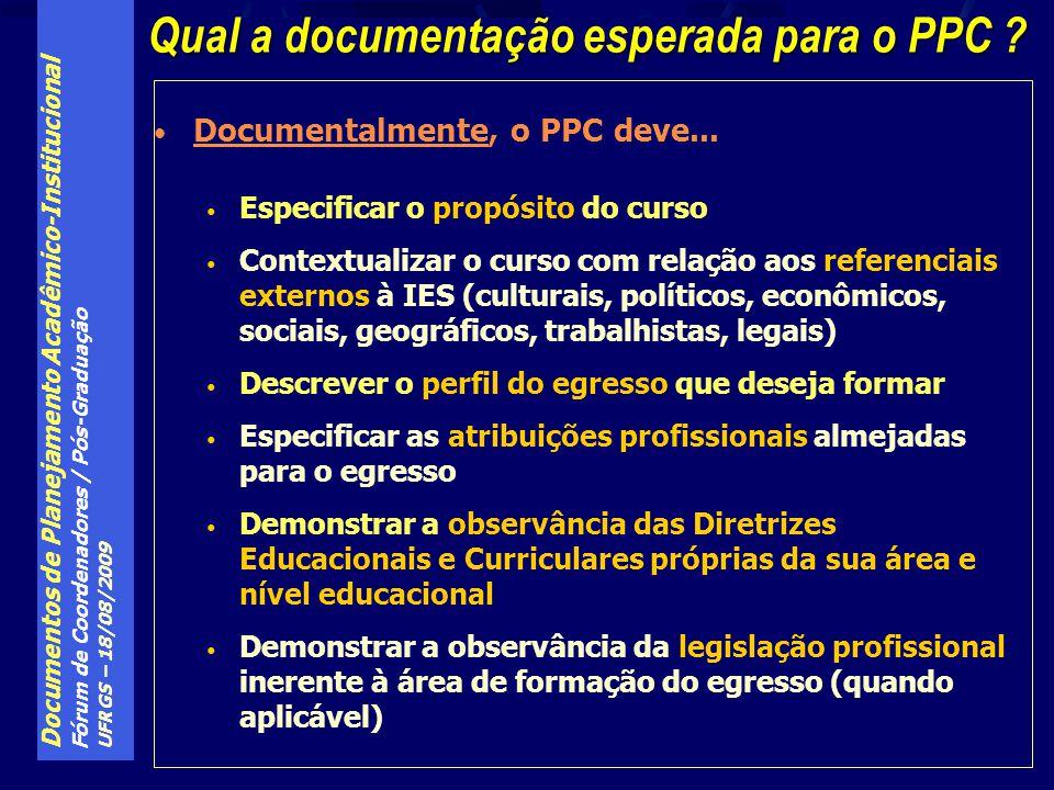 Qual a documentação esperada para o PPC