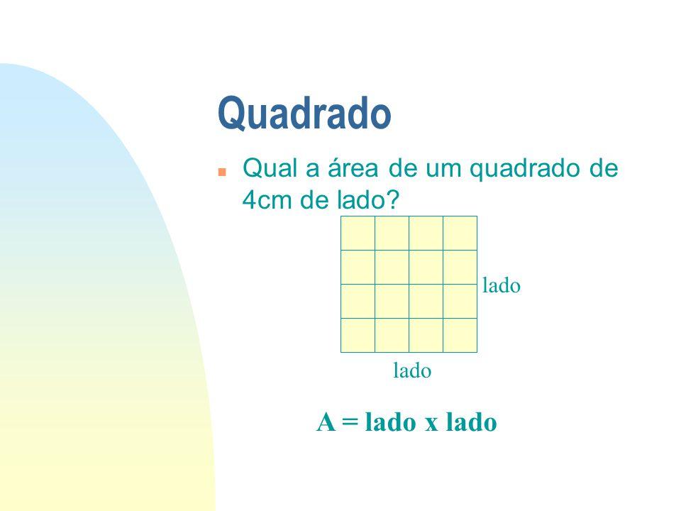 Quadrado A = lado x lado Qual a área de um quadrado de 4cm de lado