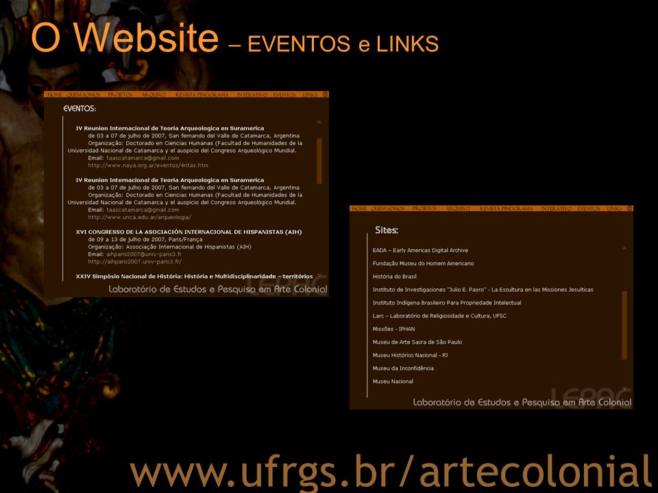 O Website – EVENTOS e LINKS