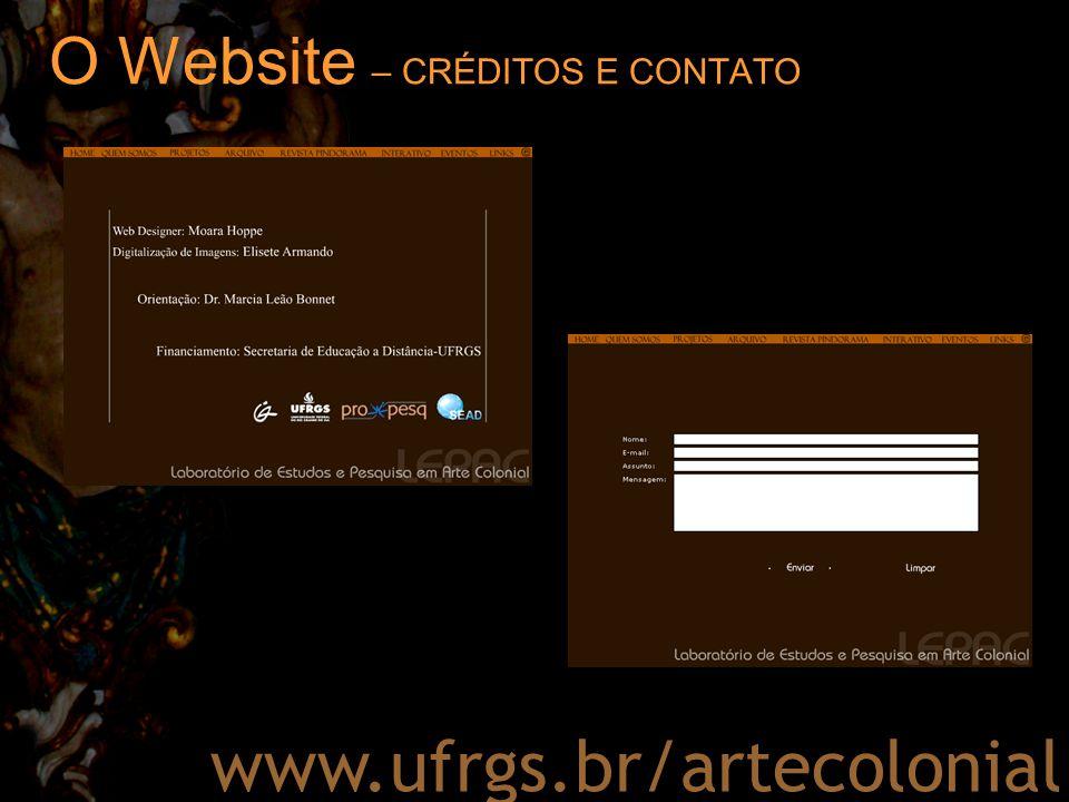 O Website – CRÉDITOS E CONTATO