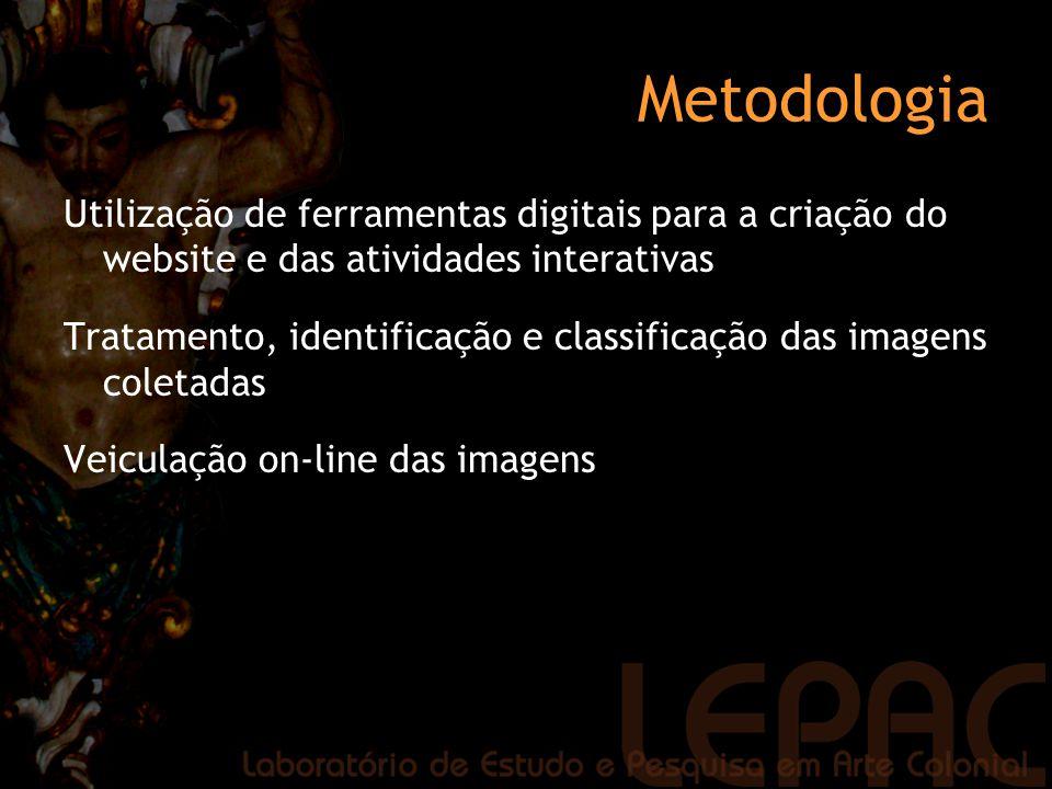 Metodologia Utilização de ferramentas digitais para a criação do website e das atividades interativas.