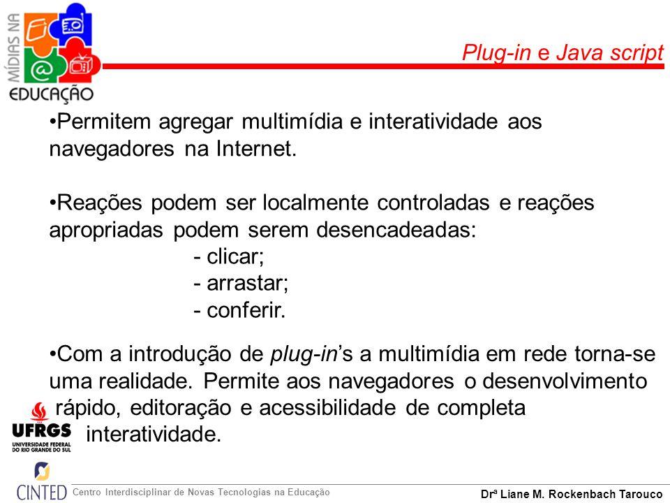 Plug-in e Java script Permitem agregar multimídia e interatividade aos navegadores na Internet.