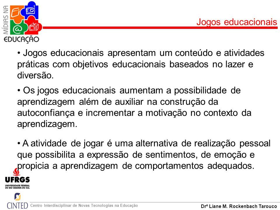 Jogos educacionais Jogos educacionais apresentam um conteúdo e atividades práticas com objetivos educacionais baseados no lazer e diversão.