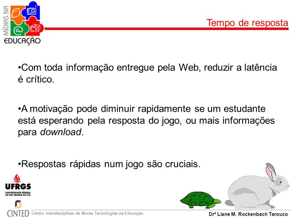 Tempo de resposta Com toda informação entregue pela Web, reduzir a latência é crítico.