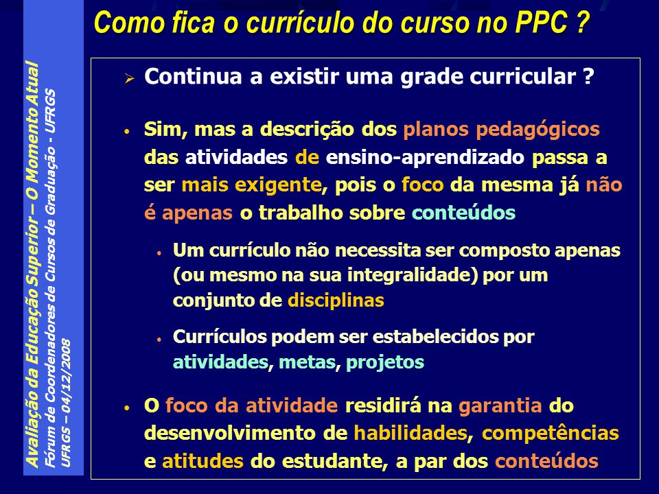 Como fica o currículo do curso no PPC
