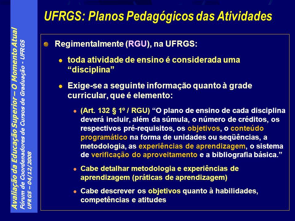 UFRGS: Planos Pedagógicos das Atividades
