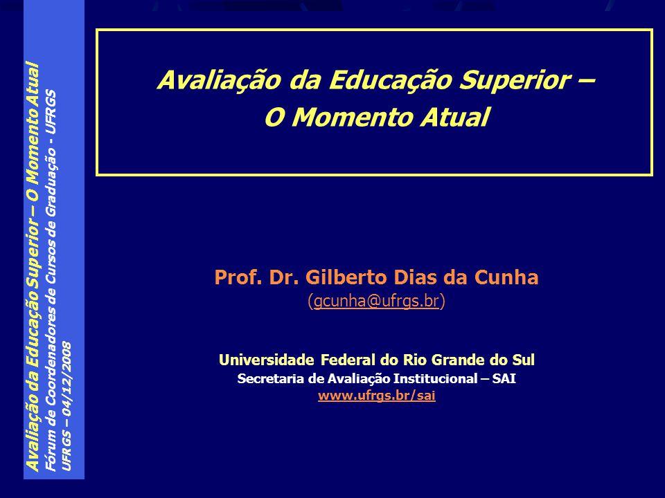 Avaliação da Educação Superior – O Momento Atual