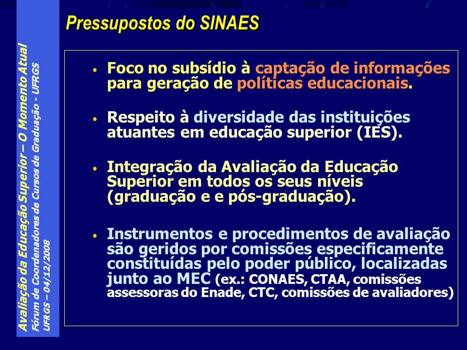 Pressupostos do SINAES