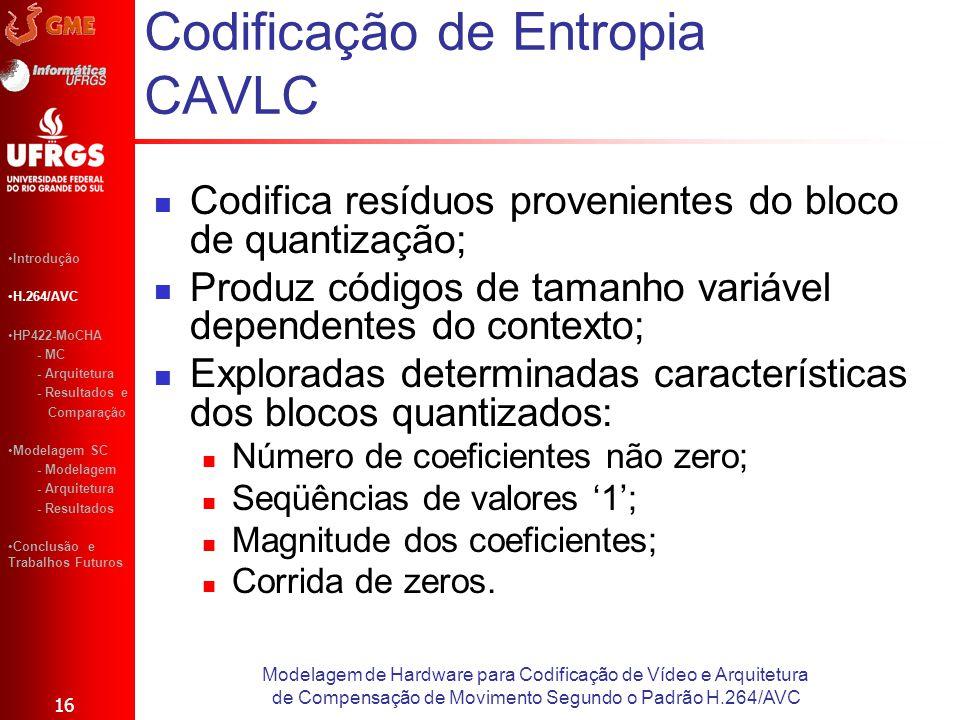 Codificação de Entropia CAVLC