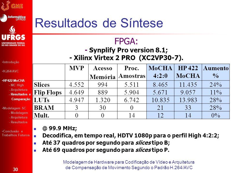 - Xilinx Virtex 2 PRO (XC2VP30-7).