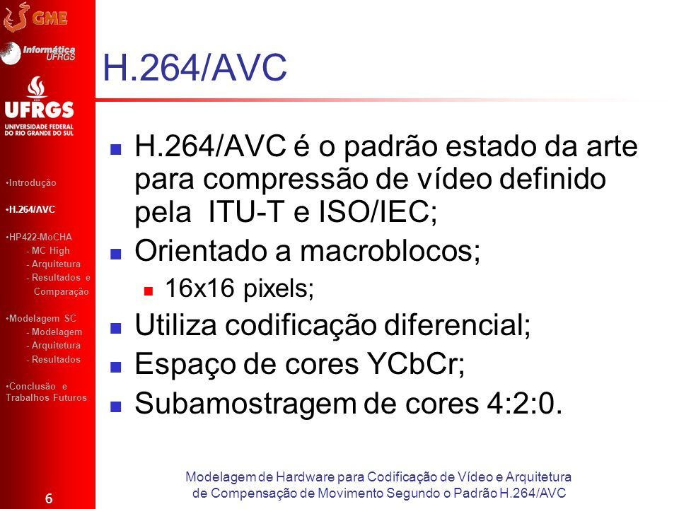 H.264/AVC H.264/AVC é o padrão estado da arte para compressão de vídeo definido pela ITU-T e ISO/IEC;