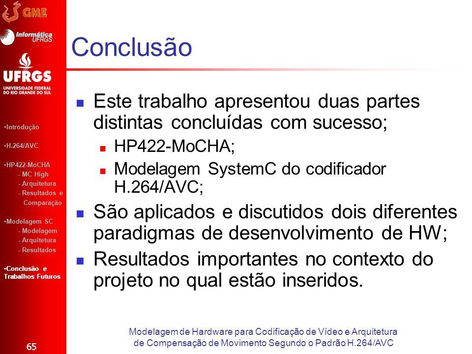 Conclusão Este trabalho apresentou duas partes distintas concluídas com sucesso; HP422-MoCHA; Modelagem SystemC do codificador H.264/AVC;