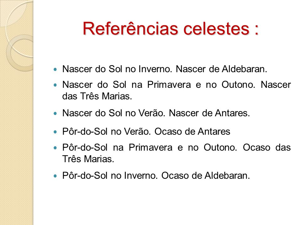 Referências celestes :