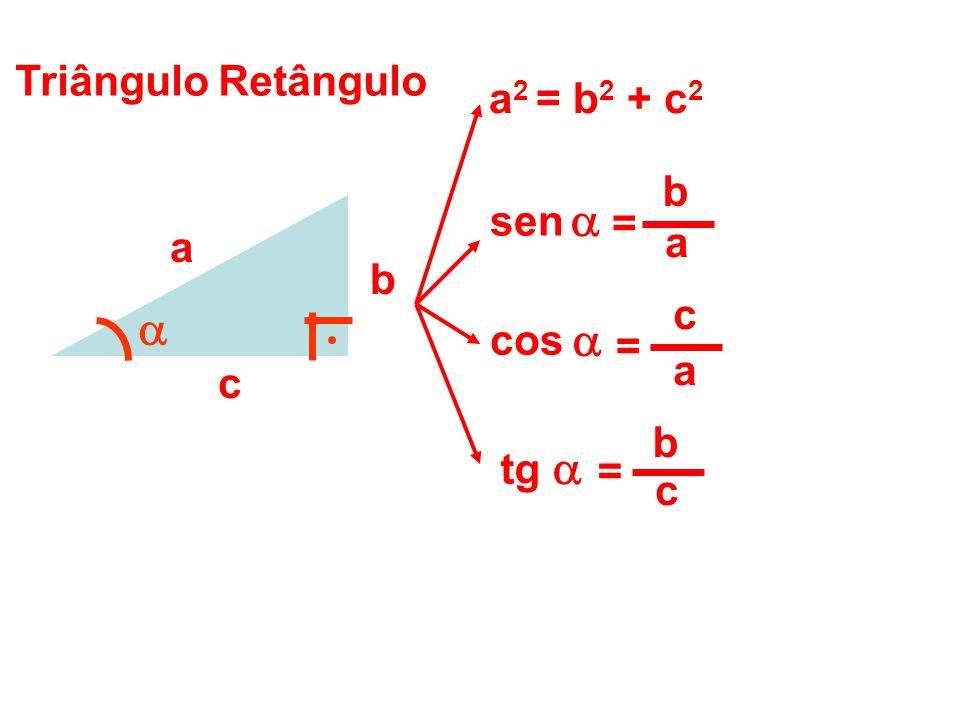     Triângulo Retângulo a2 = b2 + c2 b sen = a a b c cos = a c b