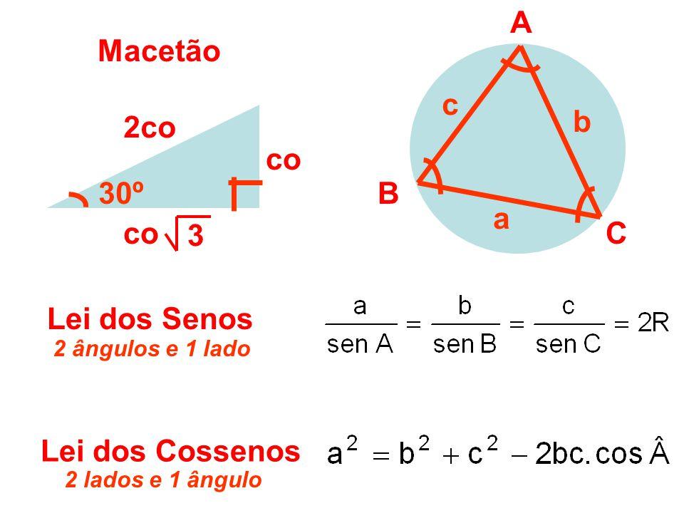 A Macetão c b 2co co 30º B a co 3 C Lei dos Senos Lei dos Cossenos