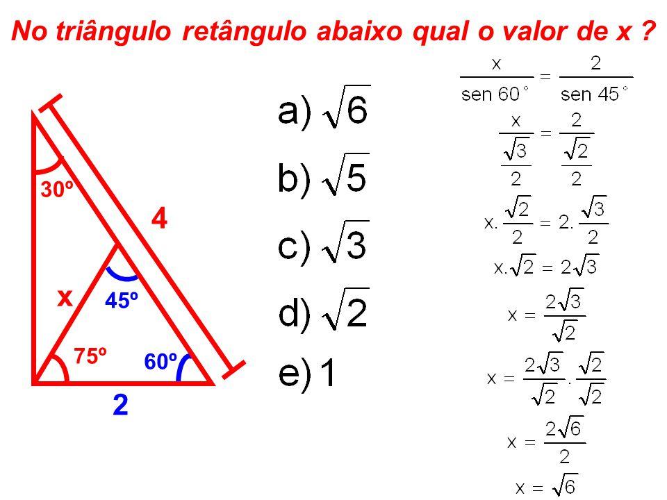 No triângulo retângulo abaixo qual o valor de x