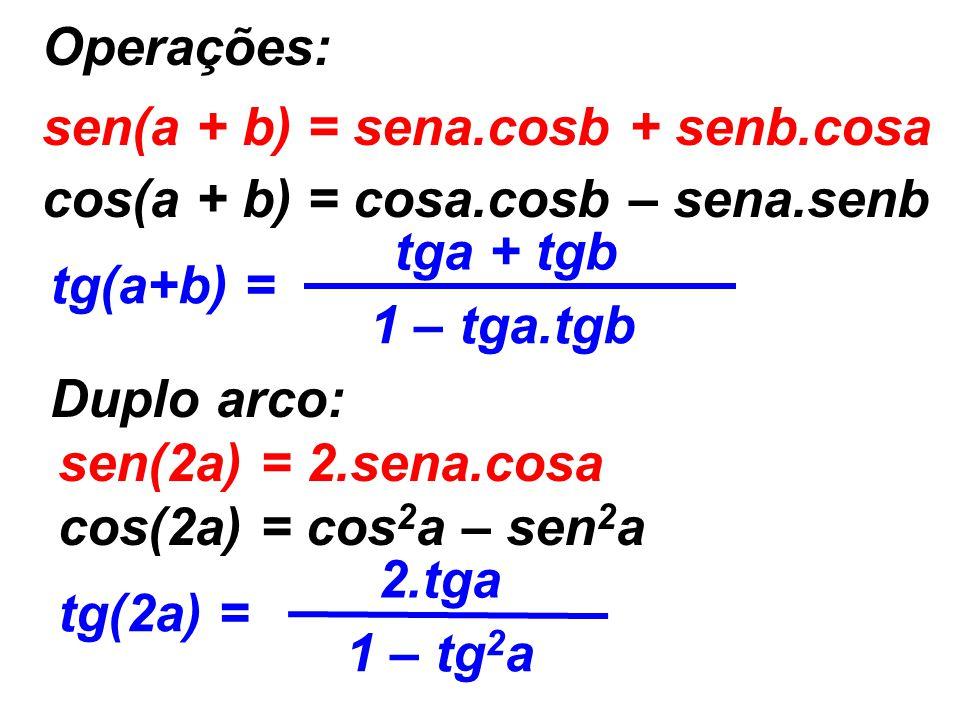 Operações: sen(a + b) = sena.cosb + senb.cosa. cos(a + b) = cosa.cosb – sena.senb. tg(a+b) = tga + tgb.
