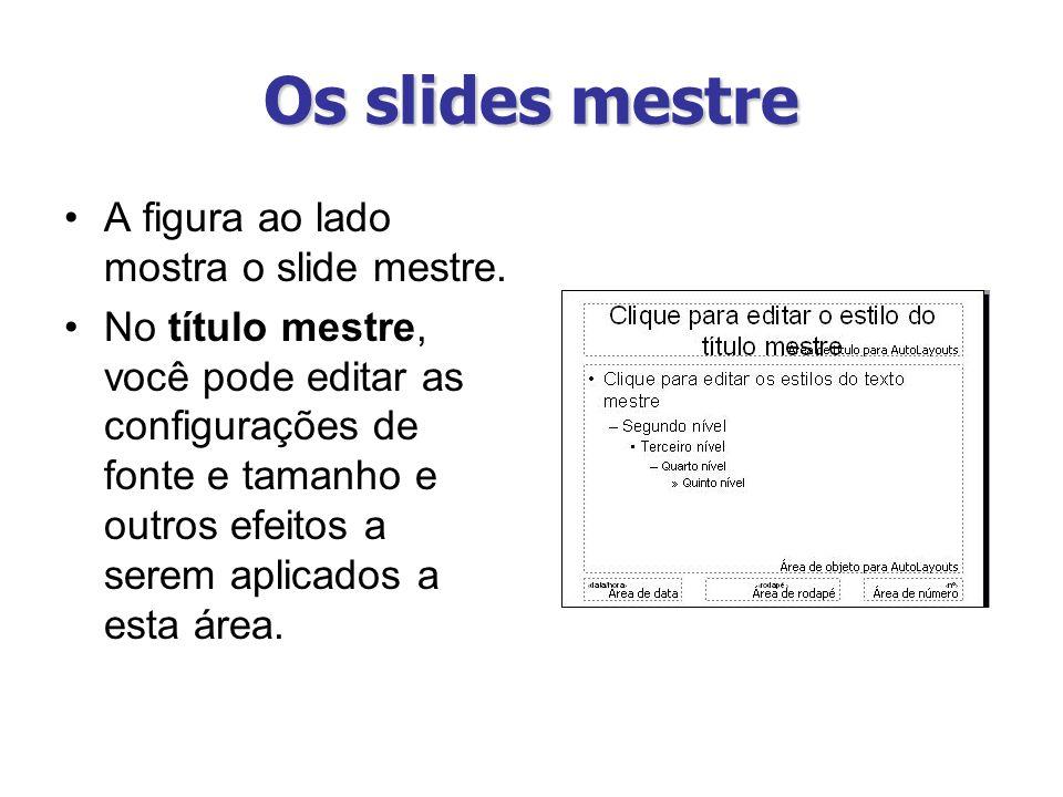 Os slides mestre A figura ao lado mostra o slide mestre.