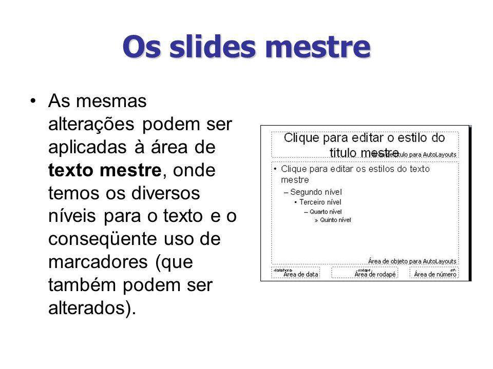 Os slides mestre